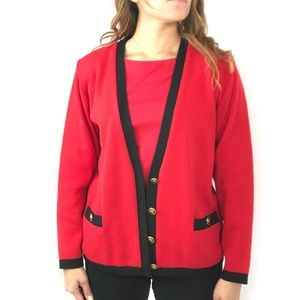 BROOKS BROTHERS Red Wool Long Sleeve Cardigan